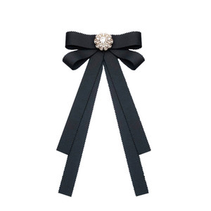 Vintage Ribbon Bow Tie Brooches Pin for Shirt Collar Women Girl Lady Elegant Brooch Pin Black Red Pink Color