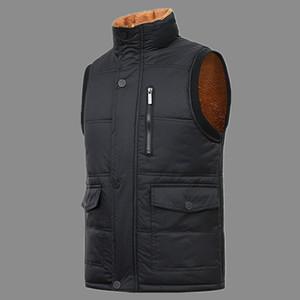 Men Multi-Pocket Classic Waistcoat Male Sleeveless Old Man Solid Coat Work Vest men work vests vender Plus velvet thicken Jacket