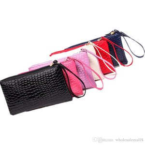 Cheap Wholesale Women Pu Leather Clutch Bag Casual Crocodile Pattern Coin Purse Travel Cosmetic Bag Hoho Shop Gift Bag