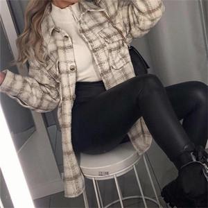 Traf frauen 2021 mode schokolade farbe tasche lose tweed jacke mantel frauen top gemacht alter stil