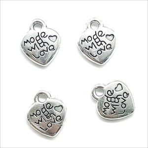 Lot 200pcs Made with love Heart Antique Silver Charms Pendants DIY Jewelry Finding For Jewelry Making Bracelet Necklace Earrings 12*10mm
