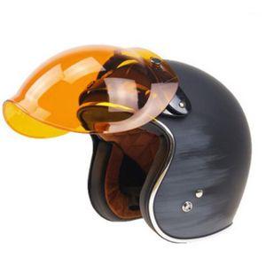 Motocicleta Moto Flip Down Retro Helmet Visor Bubble Shield Lens Base1