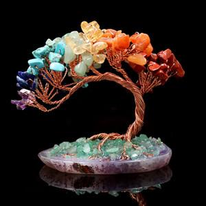 5 Pcs Irregular Shape Colorful Rianbow Stone Pendant Tree of Life Healing Chakra Copper Wire Wrap Jewelr