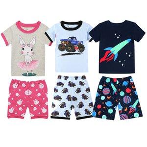 Yeni Yaz çocuk Pijama Setleri Pamuk Bebek Kız Kısa Kollu Hayvan Karikatür Pijama Çocuklar Pijama Enfant Erkek Pijama PJS W1222