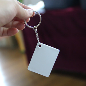 Blank Sublimation Plastic PBT Key Rings Keychain DIY Gift Printing Sublimation heat transfer Two Sides can Print