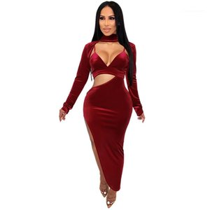 Out Womens Dresses Fashion Siold Color Casual Dresses Split Designer Deep Vneck Womens Clothes Sexy Hollow