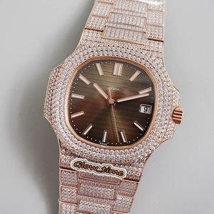R8 v2 Upgrade-Versão 18k Rose-Gold Diamond-inlay Case 5711 / 1R-001 CAL.324 S C Automático 5719 mens relógio Brown Dial Gelado de Luxry
