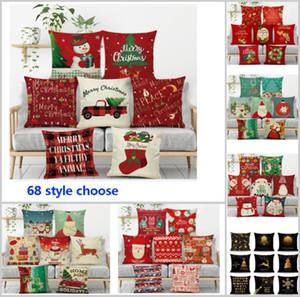 68 Tasarım Noel Yastık Kılıfı Kapak Noel Baba Ren Geyiği Baykuş Ağacı Elk Baskılı Minder Kapak Ev Araba Dekor Dekorasyon HH7-110