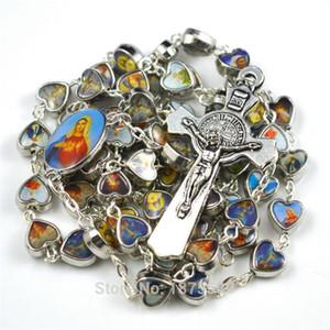 Mix Picture Catholic Figures Alloy Catholic Rosary Necklace Heart Shape Beads 201218