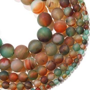 1trand lot 4 6 8 10 12 mm Matte Matte Multicolor Agate Agate Beads Pierre Ronde Perle en vrac pour bricolage Bracelet Bijoux Fournitures H Bbyhsx