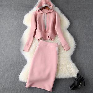 2019 осень зима розовый с длинным рукавом хлопчатобумажная панель толстовка с капюшоном + середина теленка юбка из двух частей 2 штуки набор N11T10424