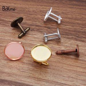 BoYuTe (20 Pieces Lot) 12MM 14MM 16MM 20MM Cabochon Base Metal French Cufflink Blanks Tray Bezel Diy Men's Clothing Accessories