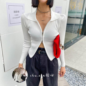 Lucyever Zipper Women Cardigans Sweater Sexy Autumn Long Sleeve Corpped Knitted Autumn Fashion Female Top Casual Slim Blouse