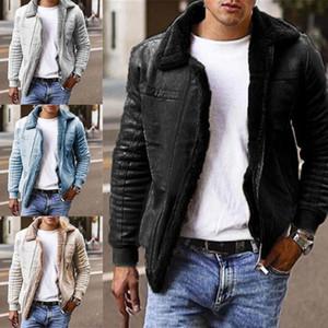 Sonbahar Kış Erkekler Ceket Mont Dış Giyim Down Yaka Uzun Kollu Sıcak Süet Motosiklet Ceket Erkekler Ceket Erkekler