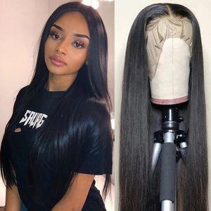 Современное шоу 28 дюймов длинные человеческие волосы шнурки передних париков плетеные парики для черных женщин индийский прямой 13x4 человеческих волос парик 150% плотность