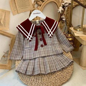 Gooporson Autumn Kids Clothes Plaid Long Sleeve Coat&skirt Cute Korean Little Girls Clothing Set Fashion Fall Children Outfits