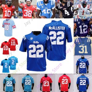 Ole Miss Rebels Football Jersey NCAA College John Rhys Plumlee Matt Corral Phillips Conner Moore Drummond Coatney Wallace Willis Nkemdiche