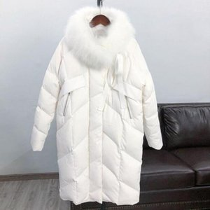Real Natural Fur Collar White Duck Down Jacket Women 2020 Plus Size Warm Winter Jacket Women Coat Female Down Long Parka D091