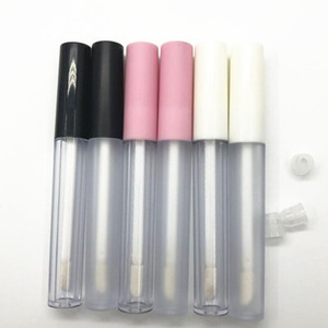 2.5ML Frosted Clear Empty Lip Gloss Containers Tube Lid Balm Lid Brush Tip Applicator Wand Rubber Stoppers 6 Colors DWF3329