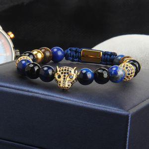 الأزرق CZ النمر أساور بالجملة الخرز 8MM الحجر الطبيعي مع مجوهرات ليوبارد مكرم سوار الفولاذ المقاوم للصدأ لرجل