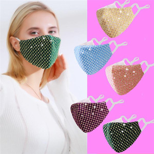 Fashion Blingbling Sequined Women Face Masks Adjustable Earloop Anti Dust Windproof Winter Cloth Mask Can Put PM2.5 Filters FY0114