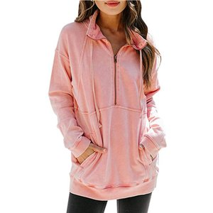 2020 euro-american popular new style kangaroo pocket half-zip long-sleeved casual sweater blouse in solid color