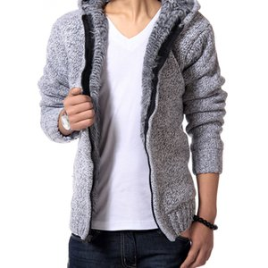 2020 winter new plus velvet thick warm men's sweater hooded Korean version of the slim fashion knit cardigan jacket