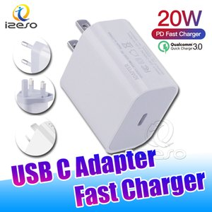 USB C carregador de parede 20w entrega de potência PD adaptador de carregador rápido tipo c carregador plugue rápido carregamento para iphone 12 pro max izeso