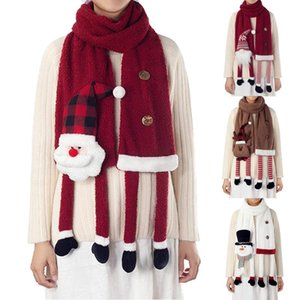 Cartoon Christmas Suede Scarf for Adult Cartoon Plush Doll Parent-child Outfit Winter Scarves Xmas Decorations Gifts