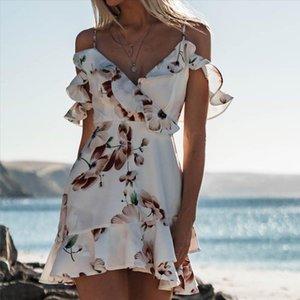Women Boho Floral Dress Chiffon Summer Party Evening Beach Mini Dress Sexy Women Clothes Off Shoulder Sundress