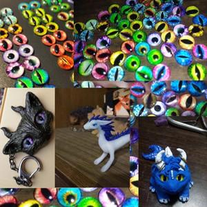 100PCS / 50Pair Glasaugen Cabochons rund 6mm-30MM runde Dome Dragon Eye Drachen Katzenauge Spielzeug DIY Schmucksache-Zusatz MIX Schüler Augen Cameo
