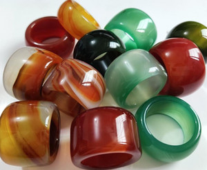 10pcs Wholesale Mix Huge Jade Thumb Ring Mens Womens Wide Agate Exquisite Finger Ring Retro Luxury Jewelry