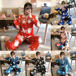 8G3V JULY 039; S Emulación Pink Women039; S Otoño Piezas Canción Seda Seda Pijamas Pijamas Sets Sleepwear Women Spring Verano 7 Homewear Q190513