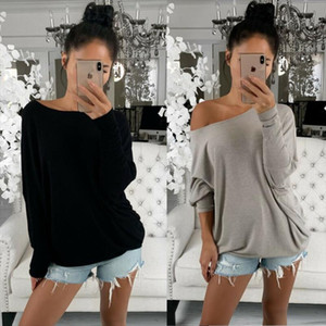 2020 Newest Hot Fashion Women`s Sexy Off Shoulder Long Sleeve T Shirt Casual Ladies Loose Solid Daily Wear