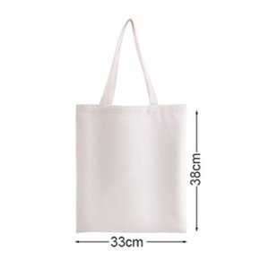 33*38cm Sublimation Square Canvas Shoulder Bag Women Frabic Handbag Diy Makeup Bags Blank Heat Transfer Storage Shopping Bag