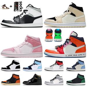 nike air jordan 1 2020 yeni Jumpman 1 1s Erkek Basketbol Koyu Mocha Satin AyakkabıÜrdünRetro Bio Hack Giysi S Midnight Navy UNC erkekler kadınlar Spor ayakkabılar