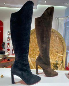 Sıcak SALEWINTER Kadınlar Lüks Çizmeler, Uzun Şık Kırmızı Tabela Topuklu Uzun Boylu Patik Eleonor Botta Bota Dalfskin Süet Hakiki Deri Kadın için Çizmeler Üzerinde