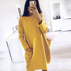 Women Casual Loose Dress with Pocket Ladies Fashion O Neck Long Tops Female T Shirt Dress Streetwear Plus Size vestidos