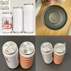 304 Stainless Steel Bottle DIY Sublimation Blank Double Deck Tumbler Cola Pop Can Vacuum Cup With Lid Straws Straight Drinks 14jq G2