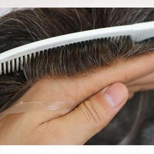 """Toupee für Männer Haarteilersatzsystem 100% echtem natürlichem Remy Human Hair Wavy 6 """"Mono + Swiss Lace + PU Base Herrenperücke"""