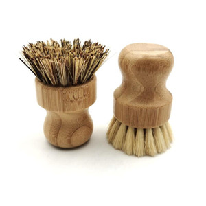 Palm Pot Wash Brush Wooden Round Mini Dish Brush Natural Scrub Brush Durable Scrubber Short Handle Cleaning Dishes Kitchen Kit DHD2996