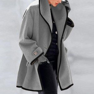 Women Jackets Solid Coat Female Stand Collar Warm Long Cardigan Tops Office Coat Lady Casual Cardigan Coats Jacket Womens