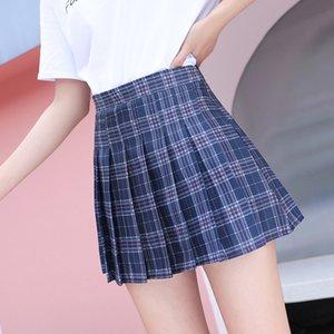 QRWR XS-XL Plaid Summer Women Skirt High Waist Stitching Student Pleated Skirts Women Cute Sweet Girls Dance Mini Skirt