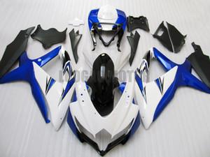 Injection Fairing kit for Suzuki GSXR600 GSXR 750 08 09 10 white blue black ABS fairings K8 GSXR 600 750 2008 2009 2010 bodywork body kits