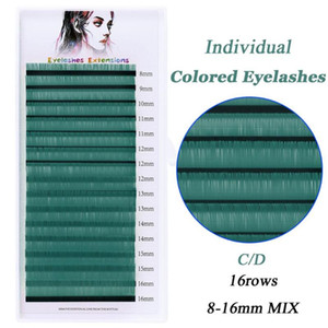 16 Rows Colored Eyelashes Extension Faux Mink Individual Normal Lashes Makeup Tools Soft Colored Fake Eyelash Extension Supplies
