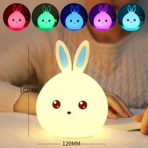 Rabbit LED Night Light Soft Silicon Table Lights Multicolor Touch Sensor Tap Lighting For Children Baby Kids Bedside Lamp