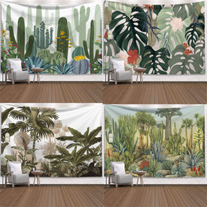 Green Cactus Tapestry Summer Succulents Wall Decor Tropical Landscape Wall Hanging Tapestries Picnic Blanket Wall Cloth