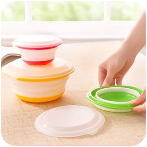 3pcs set Round Silicone Folding Bowl Food Container with Lid Travel Outdoor Portable Lunch Boxes