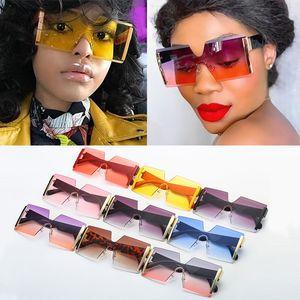 Wholesale Fashion Oversized Square Rimless Sunglasses Women Brand Flat Top Big Sun Glasses Female One Piece Gradient Shades Bulk Q1126