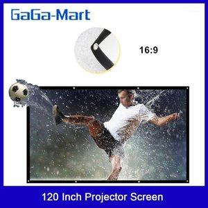 """H120 120'' Portable Projector Screen HD 16:9 White Dacron 120"""" Diagonal Video Projection Screen Foldable Wall Mounted for Home1"""
